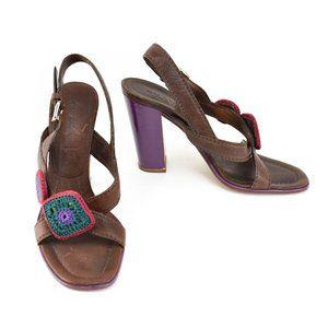 PRADA: Brown, Leather & Patent Color-Block Heels